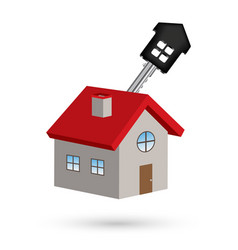 3d house with house key vector image