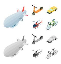 A dirigible a children scooter a taxi a vector