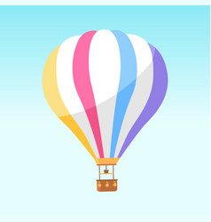 Airballoon with colorful stripes icon isolated vector