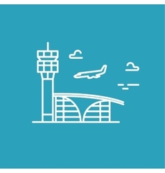 Airport building Plane is landing line vector image