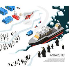 Antarctica icebreaker penguins settlement poster vector