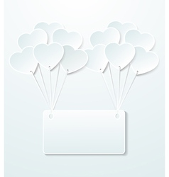 Background with balloons in shape heart vector