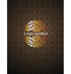 Background with floral emblem vector image