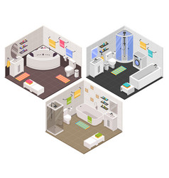 bathroom isometric set vector image