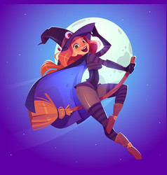 beautiful witch flying on broom in night sky vector image