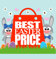 best easter price funny rabbits vector image