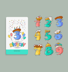 birthday anniversary numbers cartoon characters vector image