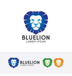 blue lion logo design vector image