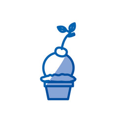 Blue shading silhouette of ball ice cream in cup vector