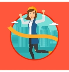 Business woman crossing finish line vector image