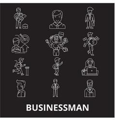 businessman editable line icons set on vector image