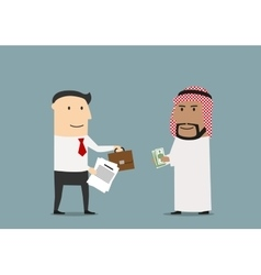Businessman selling a part of business to arab vector image