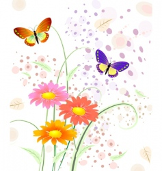butterfly on flowers vector image