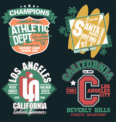 California t-shirt graphics set sport wear vector