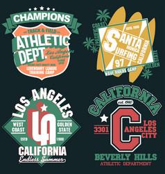 California t-shirt graphics set sport wear vector