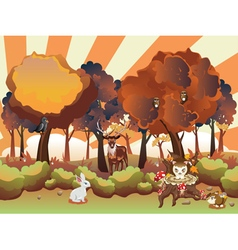 Cartoon Autumn Forest with Animals6 vector