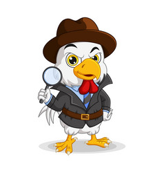 Cartoon detective chicken holding magnifying glass vector