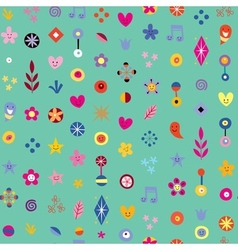 Cartoon hearts stars and flowers abstract art vector