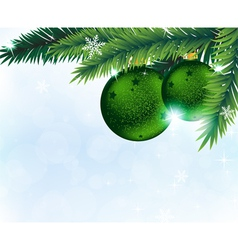 Christmas decorations and fir tree branches vector image