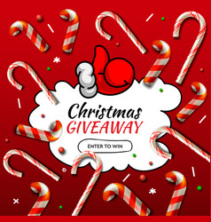 Christmas giveaway template with candy cane vector