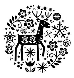 christmas round design with reindeer folk vector image