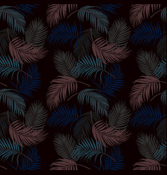 colorful tropical leaves on dark summer night vector image