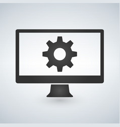 computer or monitor icon service cogwheel sign vector image