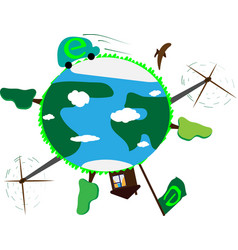 concept earth day eco-technology pure planet vector image