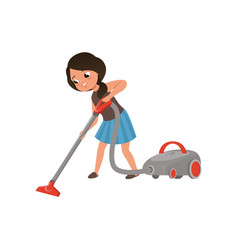 Cute girl cleaning mirror cleaning the floor with vector