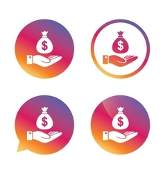 Dollar and hand sign Palm holds money bag vector image