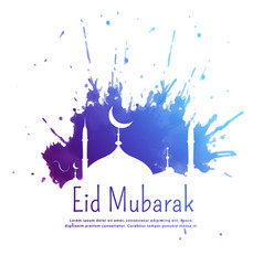 Eid mubarak greeting with blue ink splatter and vector