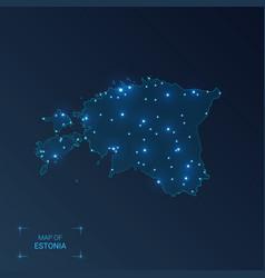 Estonia map with cities luminous dots - neon vector