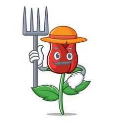 Farmer red rose character cartoon vector