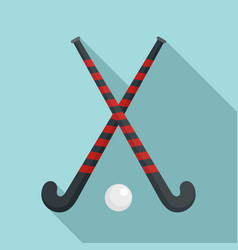 field hockey crossed sticks icon flat style vector image
