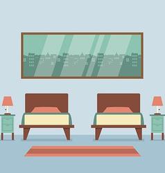 Flat Design Twin Beds Interior vector image