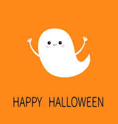 flying ghost spirit happy halloween scary white vector image
