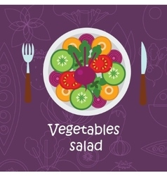 Fresh vegetables salad with olive oil on violet vector image