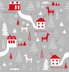 funny seamless pattern with deers houses vector image