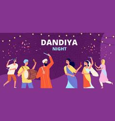 garba dandiya night banner gujarat folk disco vector image