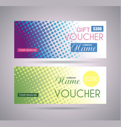 Gift voucher template with creative concept vector