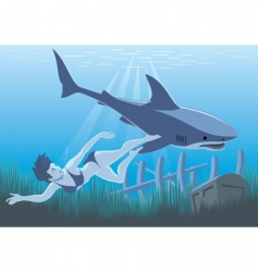 girl and shark swimming vector image
