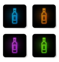 glowing neon bottle wine icon isolated on vector image