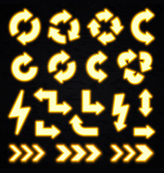 glowing yellow neon arrows set on black background vector image