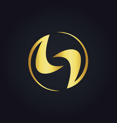 Gold abstract unique round circle logo vector