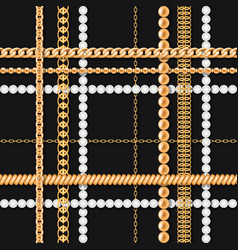 Gold chains and pearls on black luxury seamless vector