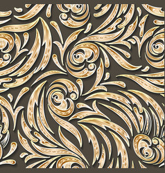 Golden swirls seamless pattern vector