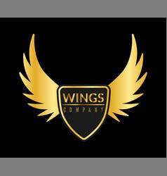 Golden wing logo eagle or angel flying vector