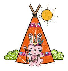 Grated rabbit animal with arrows and camp design vector