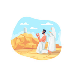 Hajj pilgrims pray at mount arafat vector