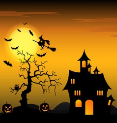 Halloween night background with witch and pumpkins vector image
